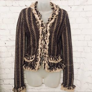 MARC JACOBS BROWN TAN FRINGE CARDIGAN SWEATER